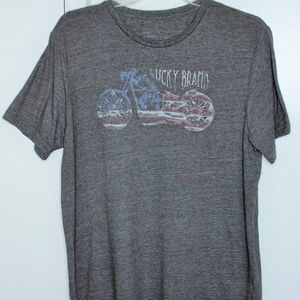 Lucky Brand Brown Americana Motorcycle Tshirt XL
